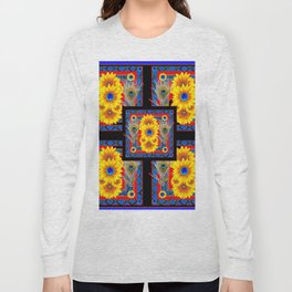 BLUE PEACOCK JEWELED SUNFLOWERS DECO ABSTRACT Long Sleeve T-shirt