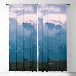 Mountain Sunset Horse - Landscape Wildlife Photography Blackout Curtain