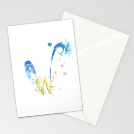 Letter W watercolor - Watercolor Monogram - Watercolor typography - Floral lettering Stationery Cards