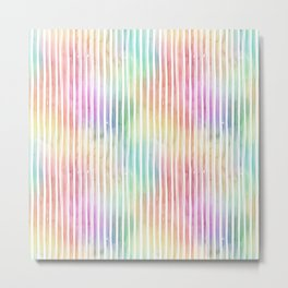 Small Bright Vertical Pastel Watercolor Stripes and Lines Metal Print