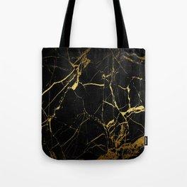 Black-Gold Marble Impress Tote Bag