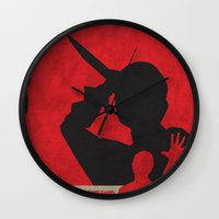 psycho Wall Clocks featuring Psycho  by Geminianum