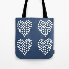 Hearts Heart x2 Navy Tote Bag
