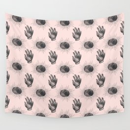 Hand and Eye of wisdom pattern - Pink & Black - Mix & Match with Simplicity of Life Wall Tapestry