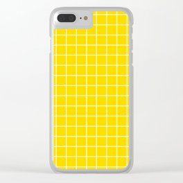 Sizzling Sunrise - yellow color - White Lines Grid Pattern Clear iPhone Case