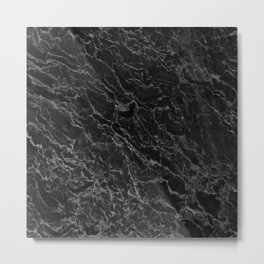BLACK MARBLE - TEXTURE - MATERIAL - SURFACE Metal Print
