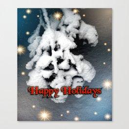 Happy Holidays Snow Puffs Canvas Print