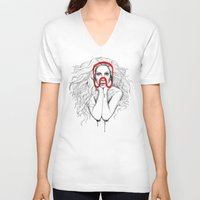 queen V-neck T-shirts featuring Queen by Mr. Gabriel Marques
