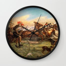 Classical Masterpiece 'The Oklahoma Land Rush' by John Steuart Curry Wall Clock