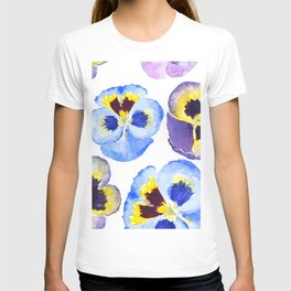 pansies pattern watercolor painting T-shirt