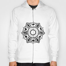 Black and White Pattern Flower Design  Hoody