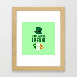 Kiss me i'm Irish quote Framed Art Print
