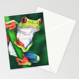 Red-eyed frog colored pencil illustration Stationery Cards