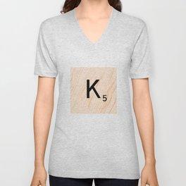 Scrabble Letter K - Large Scrabble Tiles Unisex V-Neck