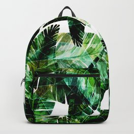 Green leaves of a banana. 2 Backpack