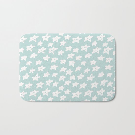 Stars on mint background Bath Mat
