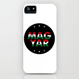 Magyar, circle, black, with stars iPhone Case