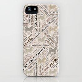 Alaskan Malamute dog Word Art iPhone Case