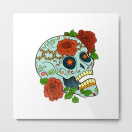 Blue Sugar Skull Metal Print