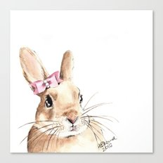Bunny with a Pink Hair Bow. Watercolor Painting Canvas Print