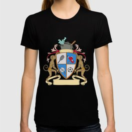 Monkey Money Cook Pot Sports Wine Coat of Arms Drawing T-shirt