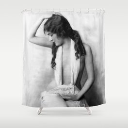 Alice Wilkie, 1922 Ziegfeld Follies Girl black and white photograph Shower Curtain