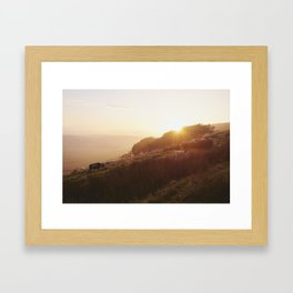 Sheep grazing on hillside at sunset. Derbyshire, UK. Framed Art Print