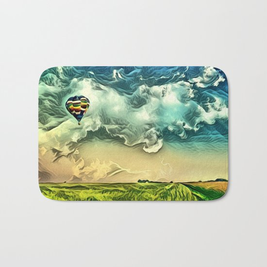 Air Balloon in the Sky with Clouds over the Landscape Bath Mat