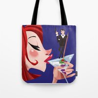 james bond Tote Bags featuring James Bond by Erin Eng