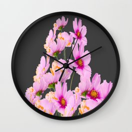PASTEL FUCHSIA PINK COSMOS FLOWERS  ON GREY COLOR Wall Clock