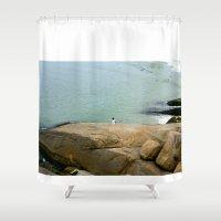rio de janeiro Shower Curtains featuring Rio de janeiro Beach by Tatiana Mab