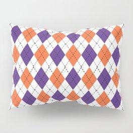 Argyle orange and purple pattern clemson football college university alumni varsity team fan Pillow Sham