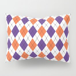 Argyle orange and purple pattern clemson football college university alumni varsity team fan Pillow Sham