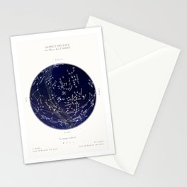 French August Star Map in Deep Navy & Black, Astronomy, Constellation, Celestial Stationery Cards