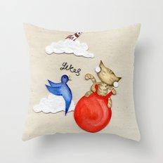 Bouncy Kitteh! Throw Pillow