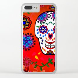 Sugar Skulls in Red  (Calavera) Clear iPhone Case