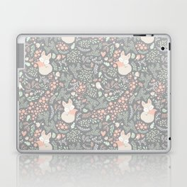 Sleeping Fox - grey pattern design Laptop & iPad Skin