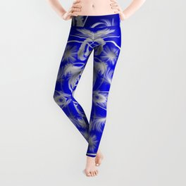silver and blue Digital pattern with circles and fractals artfully colored design for house Leggings