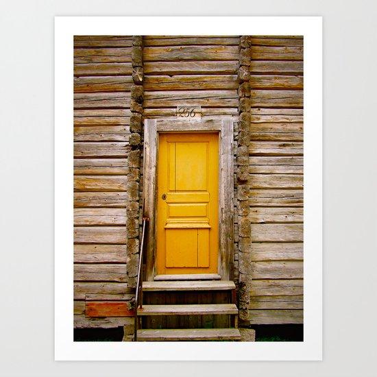 What lies behind the orange door? Art Print