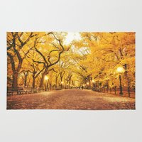 literary Area & Throw Rugs featuring New York City Autumn by Vivienne Gucwa