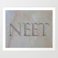 NEET Roman Chiseled Type - White Art Print
