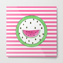 Watermelon and stripes Metal Print