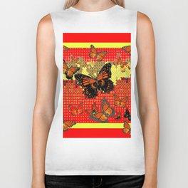 Red Abstracted Black & Orange Monarch Buttterflies Biker Tank