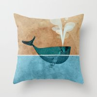 moby Throw Pillows featuring moby by John Beswick