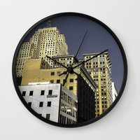buildings Wall Clocks featuring BUILDINGS by detroit vibes