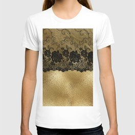 Black luxury lace on gold glitter effect metal- Elegant design T-shirt
