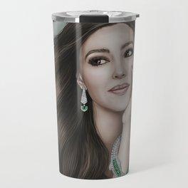 Monica Bellucci portrait. Woman portrait, Jewelry. Travel Mug