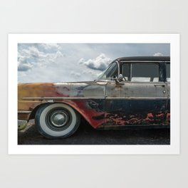 Flaming Oldsmobile Art Print