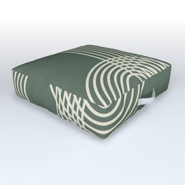 Minimalist Lines in Forest Green Outdoor Floor Cushion