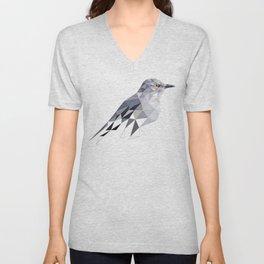 Gray Bird art Mocking Bird Geometric Unisex V-Neck